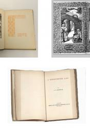 Top left: The frontispiece and title page of The Were-Wolf. Top right: The decorative title page and inside cover of Green Arras. Bottom centre: The undecorated title page of A Shropshire Lad. Images found on Google Image.