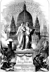 Cover page showing the sister arts, painting and writing, on a pedestal with Dome of St Paul's in background