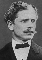 Black and white photograph of Ambrose Bierce circa 1866. Wikimedia Commons.