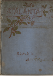 Decorated blue cover of bound Victorian magazine Atalanta