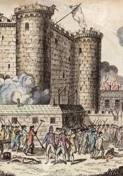 An illustration of the Storming of the Bastille, citizens rally on the outside while smoke and fire burns the inside.