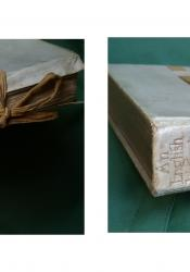 Double panel split image, one depicting the silk ties and gold pages of the 1900 publication of An Englishwoman's Love-Letters, the other the gold embossed vellum spine with a heart, ribbons, and delicate floral decorations.