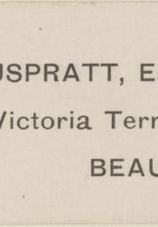 Cream-coloured adhesive label with dark grey writing that reads: E. K. Muspratt, Esq., 5, Victoria Terrace, Beaumaris.