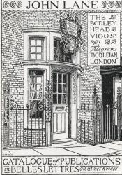 Everard Hopkin's New's cover design for John Lane's Catalogue of Publications in Belles Lettres for 1896, showing the Vigo Street, London store front of The Bodley Head, publishers and booksellers.