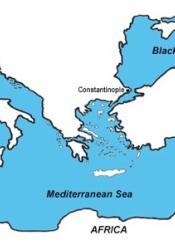 map of area around Naxos