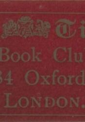 "Maroon-coloured adhesive label with thin matte gold border and writing that reads: The Times (Book Club) 376–384 Oxford Street London. The text is centred and fills the label. The Times's logo is inserted between the words ""The"" and ""Times."""