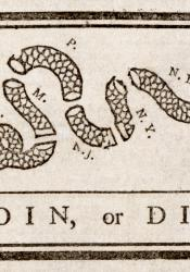 Cut up snake with the initials of the colonies in each section, the words join or die underneath.