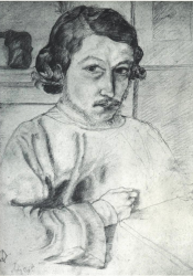 Earliest known image, a self-portrait of the young Morris in 1855