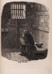 Black-and-white etching of a terrified prisoner in a Victorian jail