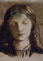Dante Gabriel Rossetti - Head of Elizabeth Siddal full face, looking down (1855)