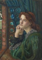 Alternate Text: A woman in a green dress sits in front of an open window with a blue curtain behind her. She is look into the distance, not at the viewer, or out of the window but off to the left hand side of the image