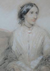 George Eliot, Chalk Pastel attributed to George Barker Jr. (ca. 1845)