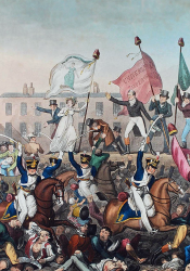 Black and White artist depiction of the Peterloo Massacre where horses were to trample people.
