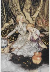 Laura and Lizzie, Goblin Market illustrated by Arthur Rackham