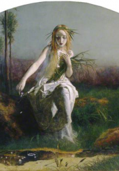 The painting depicts Shakespeare's 'Ophelia' in Hamlet advancing from a log towards water, in the centre of the painting