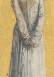 A drawing of a blonde women in a long white dress, facing forward to camera; hands are clasped in front, plain yellow background.