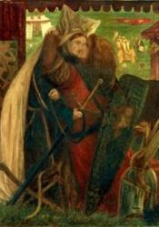 A lady and a knight praying before an altar. He offers his sword and she fixes her sleeve on his basnet. Overhead, in the distance, is seen 'a black tower', and beside is a black knight, mounted, waiting with his lance in rest for the combat.