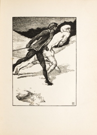"""The Race."" Illustration by Laurence Housman, wood engraved by Clemence Housman"